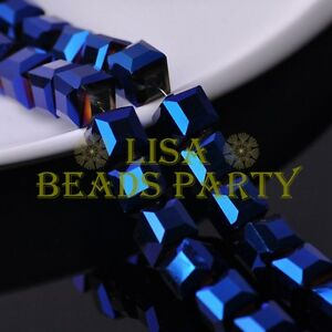 New-5pcs-14mm-Big-Cube-Square-Crystal-Glass-Loose-Spacer-Beads-Blue-Plated