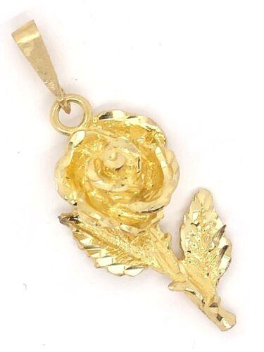 10k Yellow Gold Solid 3D Diamond Cut Rose Flower Charm Pendant 3.2 grams