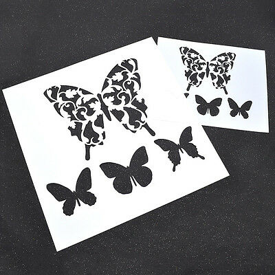 Spray Painted Drawing Butterfly DIY Tool Wall Decor Template Airbrush Stencils