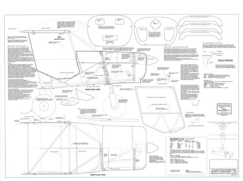 Spannweite: 2003mm ZENITH AIRCRAFT CH701 UL Zenair Modellbauplan STOL.