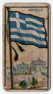 1910-GREECE-FLAG-E15-Tobacco-Card-AMERICAN-CARAMEL-Caramels-GREEK-Hellas-ATHENS