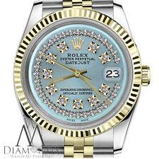 Ice Blue Mens Rolex 36mm Datejust 18K/SS 2Tone String Diamond Dial Jubilee Watch