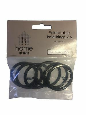 2019 Nieuwe Stijl Homebase Spare Replacement Curtain Pole Rings Matt Black Fits 25mm / 28mm Pole