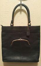 Vin. 70s COACH Leatherware Blue Leather Brass Zip Satchel Kiss Lock Pocket Handb