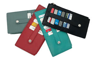 Genuine-Leather-Thin-Vertical-Stacker-Women-039-s-Wallet-Card-Case-with-ID-Window