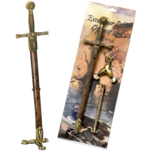 QUALITY STEEL BY DENIX A208 STAND EXCALIBUR SWORD LETTER OPENER /& SCABBARD