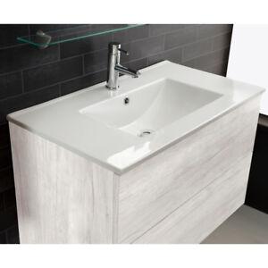 Lavandino lavabo bagno design full da incasso in ceramica bianco varie misure ebay - Lavandino da incasso bagno ...