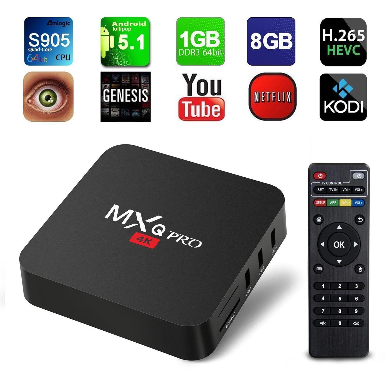 MXQ Pro 4K 3D 64Bit Android 7.1 Quad Core Smart TV Box 1080P HDMI WIFI KODI 17.6 Featured