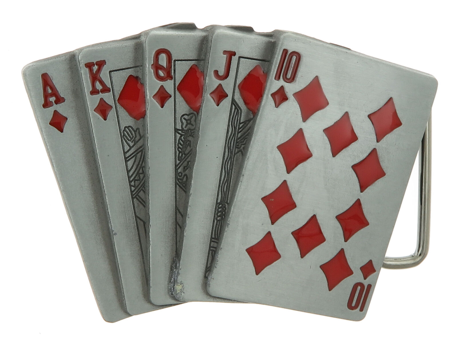Red Diamonds Royal Straight Flush Casino Gambling Poker Metal Belt Buckle