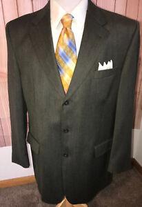 BURBERRY-LONDON-Green-Sharkskin-Blazer-Sport-Coat-Jacket-44L-100-Wool-USA-Made