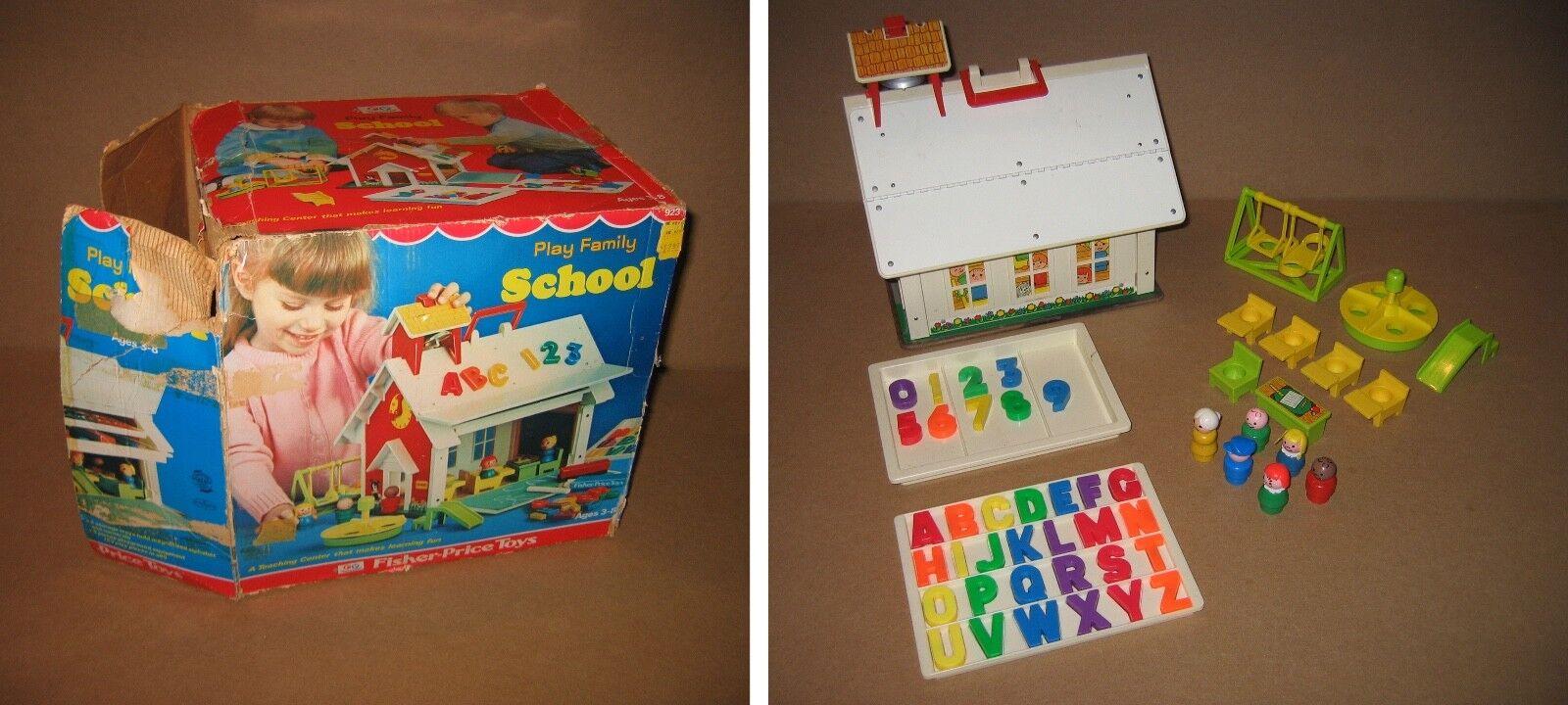 Fisher Price spela Family School w låda 95% Fullborda STORA KOND 1971