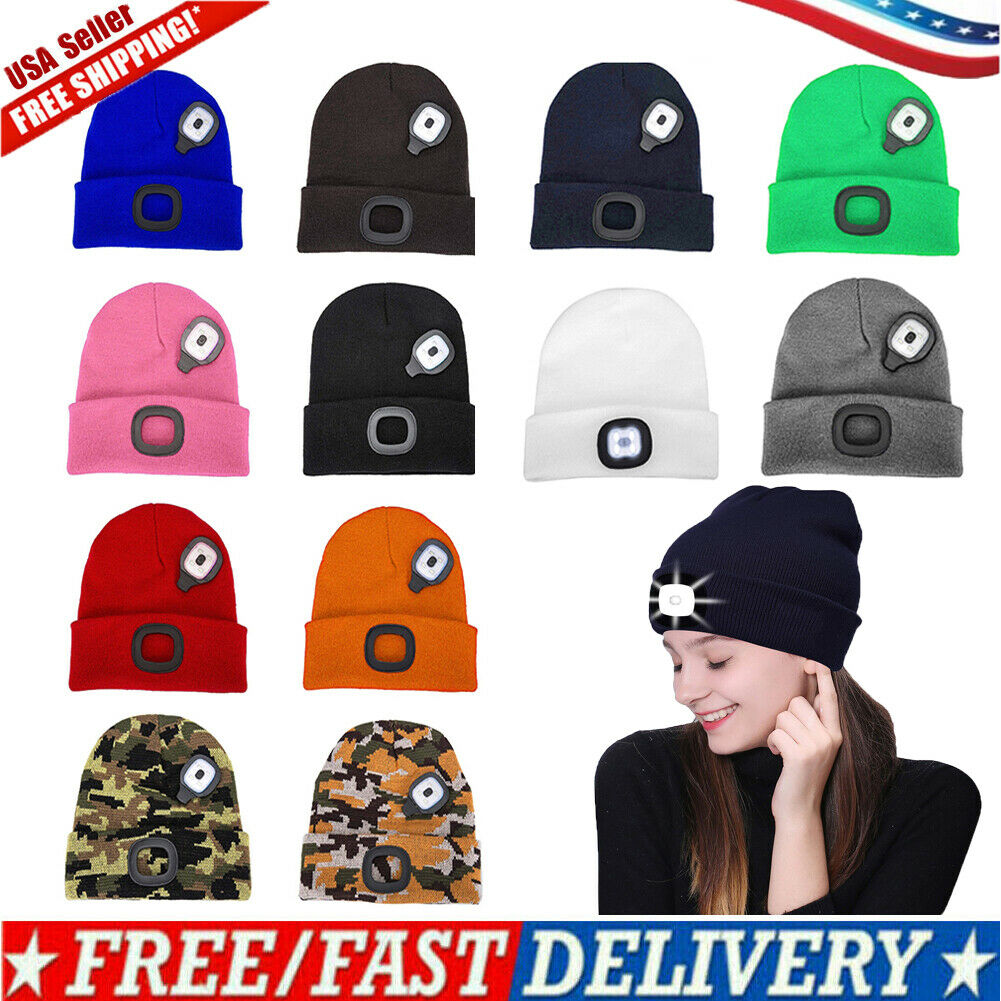 USB Rechargeable Headlamp Hat Bright 4 LED Knit Beanie Hat Unisex Warm Hands Free Running Hat with Waterproof Light for Night Activities Cycling Camping Working FANSIR New LED Lighted Beanie Cap