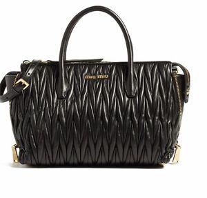 2be70babb23 Miu Miu Matelasse Black Leather Handbag Tote RN1015 N88 F0002 - NWT ...