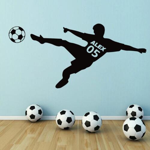 Soccer Football Player Custom Name Wall Sticker Decal Boys Kid Room Sport Poster