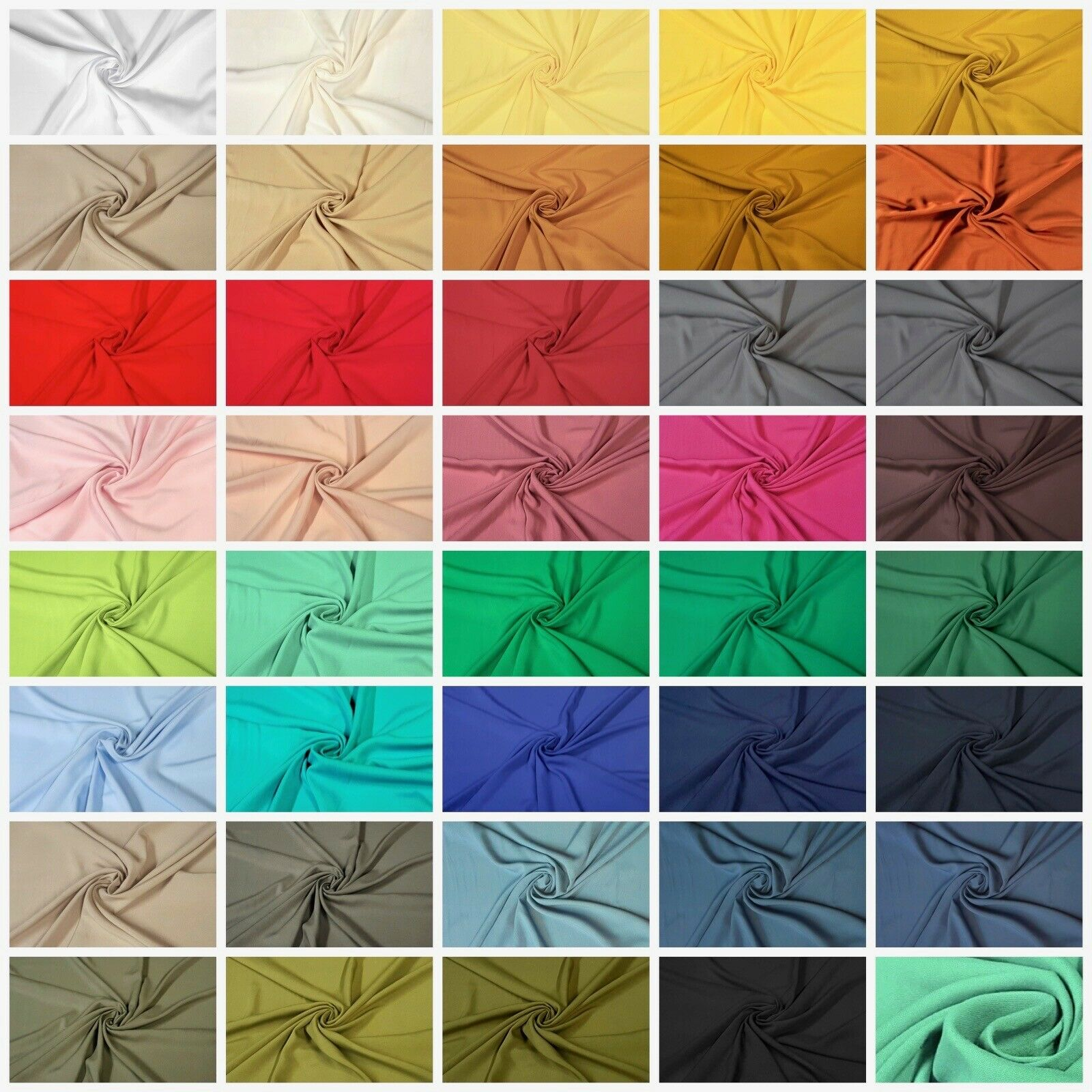 100% Viscose Fabric Uni Summer Dress Colours 180 Size Sold by the Meter
