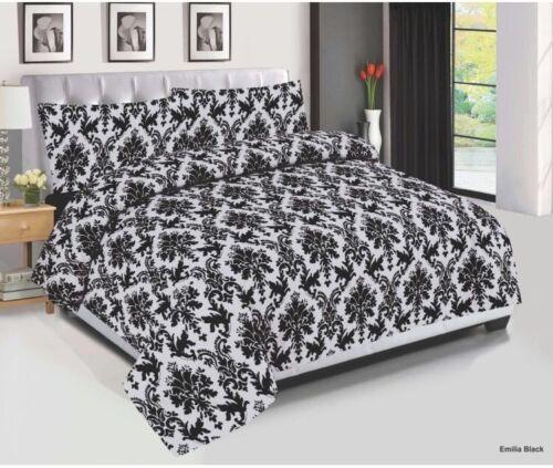parure de lit toutes tailles 4 pcs avec housse de couette Emilia en coton noir ensemble de literie