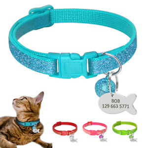 Personalized-Bling-Sequins-Cat-Dog-Collars-with-Bell-Fish-ID-Tag-Engraved-Name