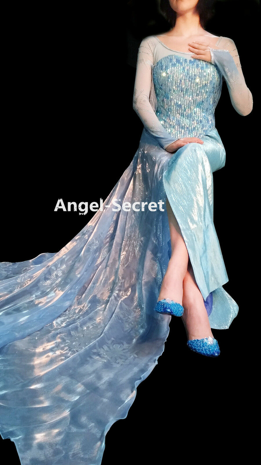 J999WC Elsa costume costume costume women adult frozen dress double layer sleeves without cape 3c970c