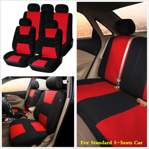 Universal Black Red 3mm Polyester Cloth Car Seat Covers Cushion For Four Seasons Ebay
