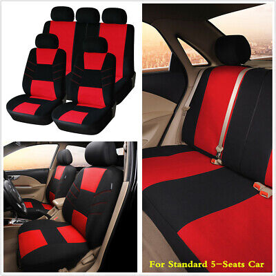 Universal Black Red 3mm Polyester Cloth Car Seat Covers Cushion