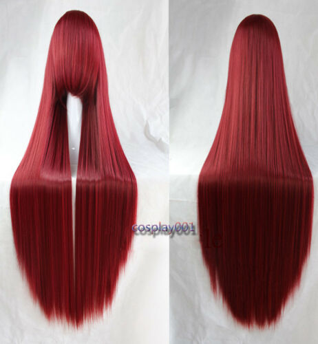 Fairy Tail Erza Scarlet Wig Long Straight Dark Red Anime Cosplay Wig + Wig Cap by Unbranded