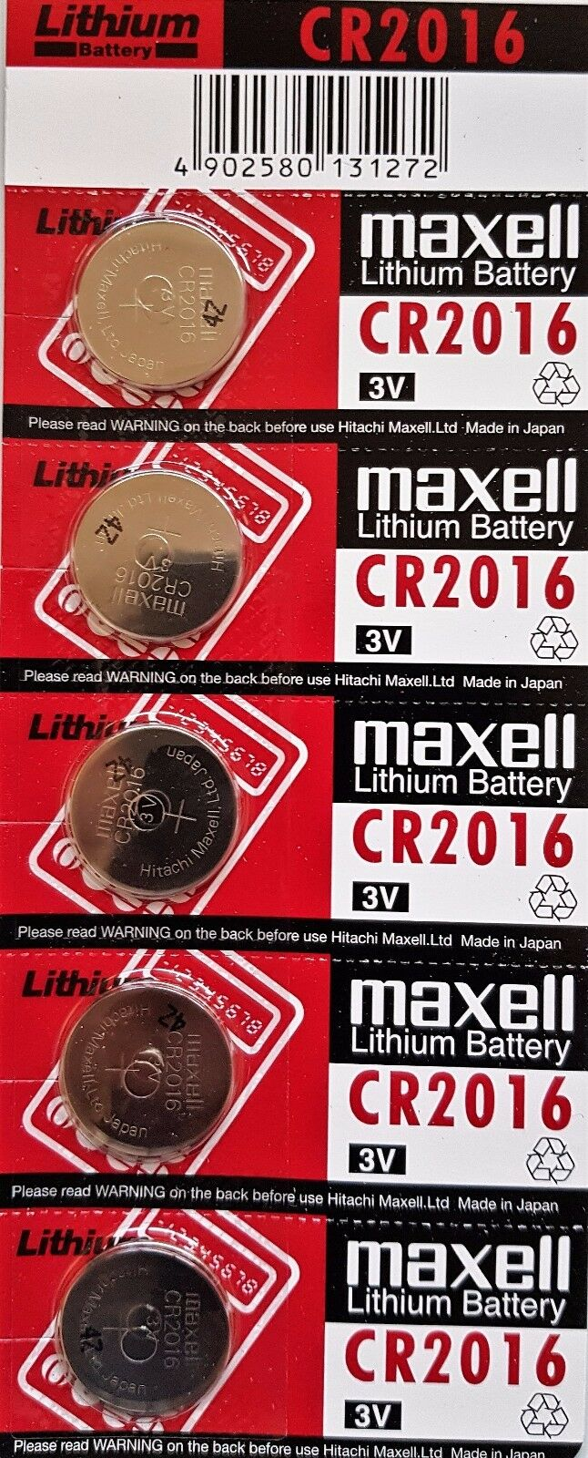 Maxell 5 x Genuine CR2016 3v Lithium Button/Coin Cells Batteries Free Postage.