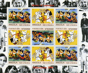 Angola-2000-Gomma-integra-non-linguellato-101-DALMATA-BIANCANEVE-SETTE-NANI-9v-M-S-FRANCOBOLLI
