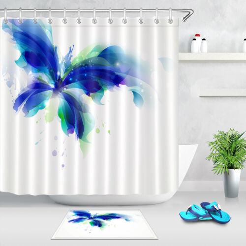 Résumé papillon bleu /& Cyan BLOTS Rideau de douche Set Tissu Polyester Crochets