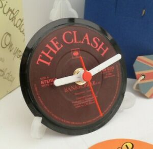 new-THE-CLASH-RECORD-CLOCK-actual-VINYL-RECORD-CENTRE-Desk-Side-Table