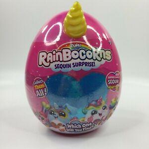 Rainbocorns Sequin Surprise Monkeycorn Plush in Mystery Egg by Zuru Yellow