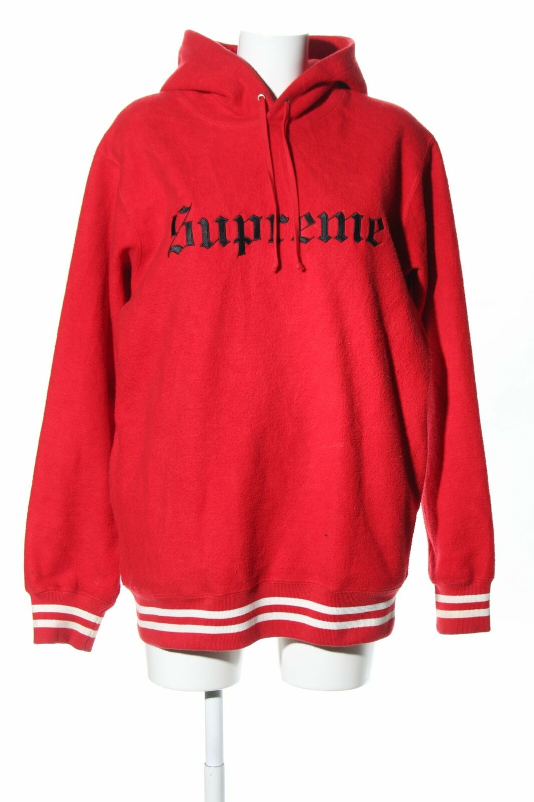 Supreme Hoodie Red Lettering Printed Casual Look Womens Size de 40