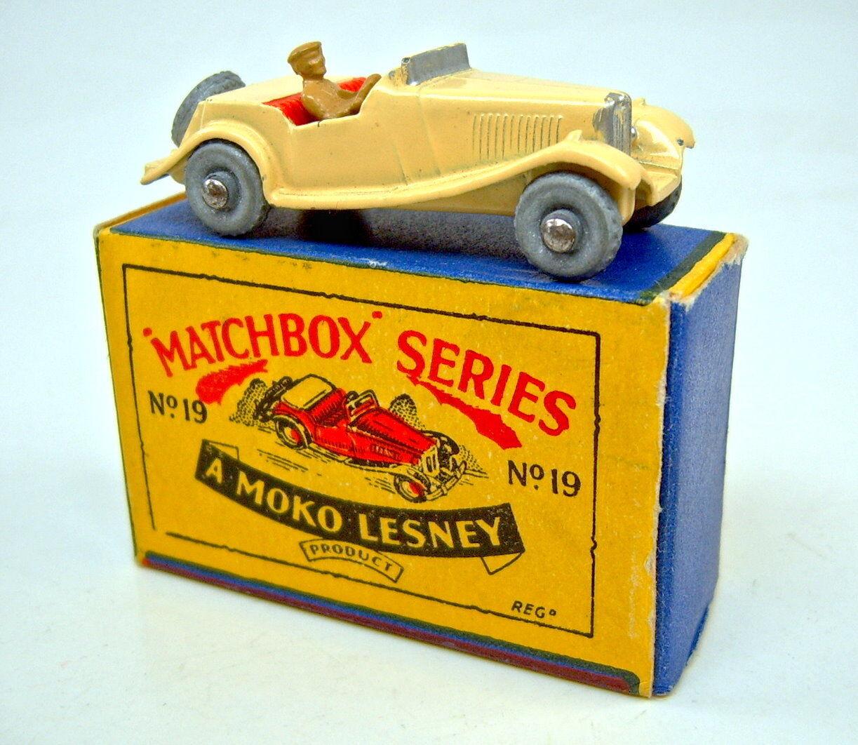 Matchbox RW 19 a MG TD Crème Crème Crème Argenté disque rare 1. version dans Petit Moko Box | Exceptionnelle  d060a0