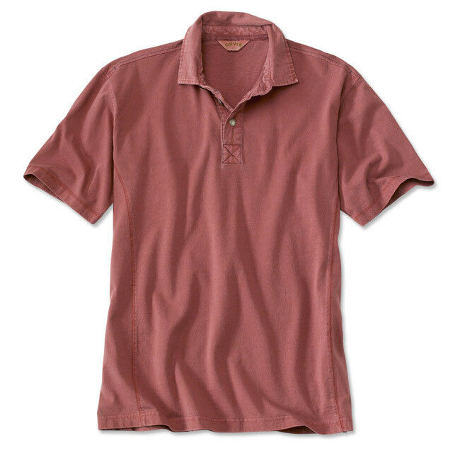 Mens Orvis Montana Morning Polo Shirt Red Rugby Cotton Collar NWT XL 46 - 48