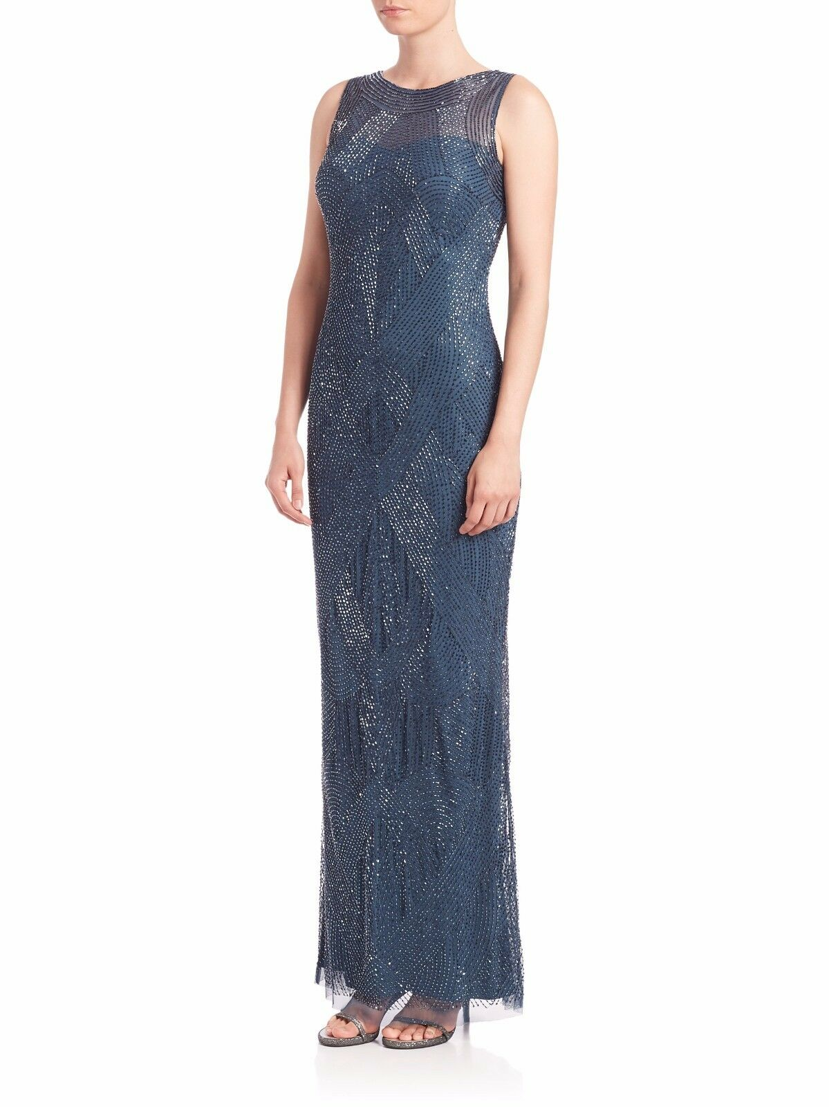 NWT  Aidan Mattox 'Riviera' Beaded Illusion-Top Gown Dress bluee [SZ 2]  M157