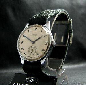 POBEDA-VICTORY-Vintage-1952-Classic-Soviet-Post-WWII-Wristwatch-White