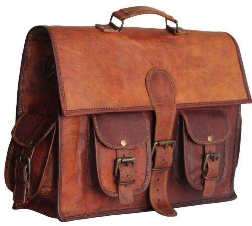 HANDCRAFTED Genuine Vintage Leather Satchel Messenger Shoulder Bag Brown//Black