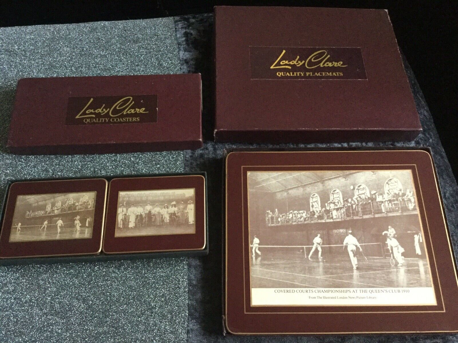 Rare Vintage Lady Clare Place Mats & Coasters Queens Club Tennis Real Photos 1st