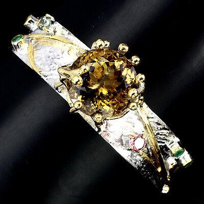 Handmade 16mm Aaa Citrine Quartz Emerald Sapphire Tourmaline 925 Silver Bangle