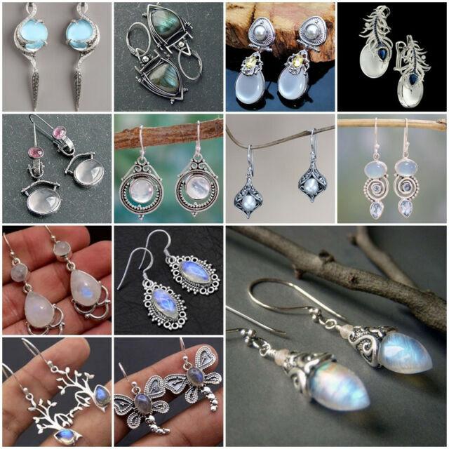 Boho Vintage Women 925 Silver Moonstone Pear Cut Earrings Dangle Drop Ear Hook