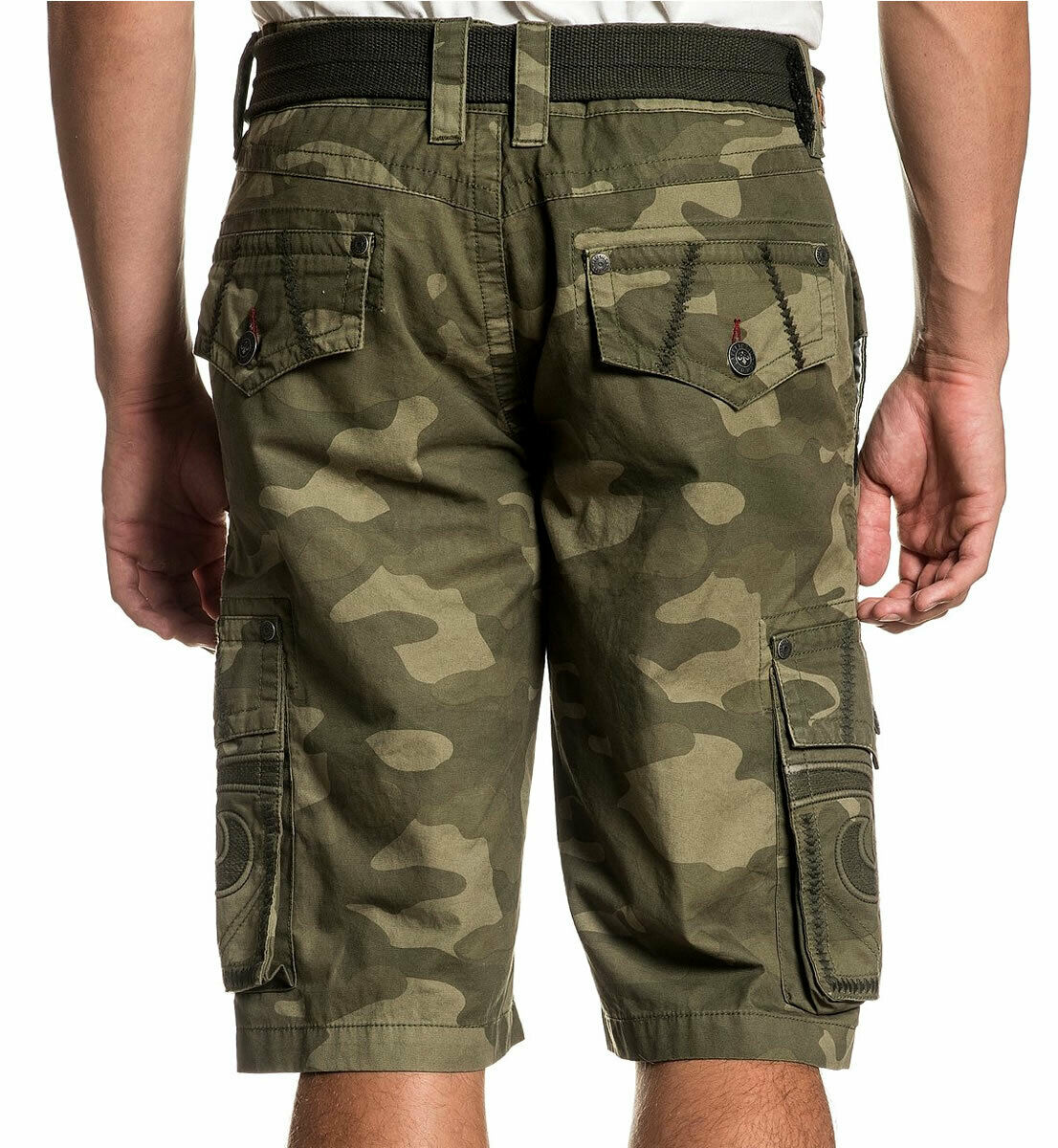 Affliction Negotiate 110WS168 Fashion Camo Cargo Shorts For Men Belt Included