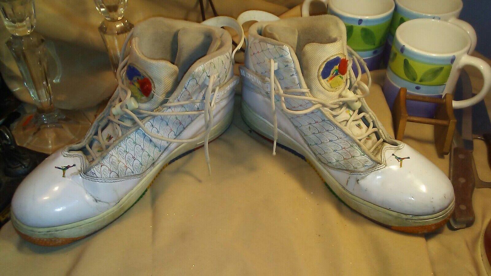 Nike air jordan 96,97,98 136027 111 due 3 white w / rainbow sz 10, 44 '
