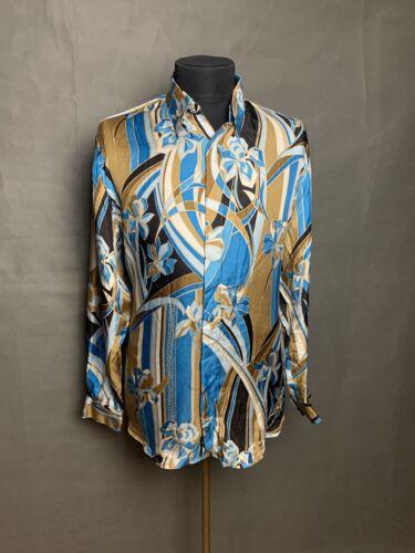 RARE! Versace Classic Men`s Silk Floral Blue Shirt