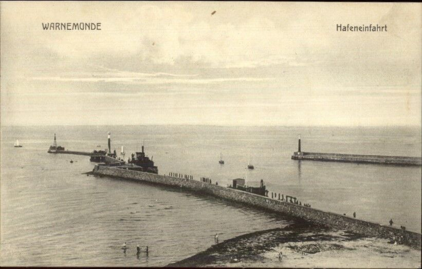 Warnemunde Germany Harbor Entrance Lighthouses c1910 Postcard