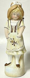 Vintage Bisque Porcelain Colonial Girl W/ Bud Vase Basket Figurine Yellow Brown