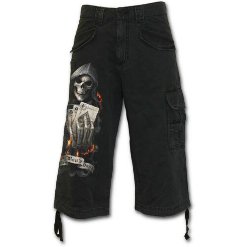 6215 Ace Reaper Gothique Vintage Cargo Pantalon de Spiral Pantalon Cargo Noir