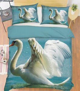 3D-White-Swan-P375-Animal-Cama-Fundas-De-Almohada-Edredon-Duvet-cover-set-Queen-Kay
