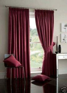 Wine Burgundy Lined Faux Silk Curtains Ties 8 Sizes Ebay