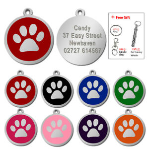 Paw-Print-Personalised-Dog-Tags-Disc-Disk-Pet-Cat-Name-ID-Collar-Tag-8-Colours