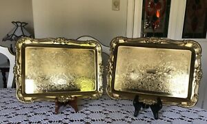 """Vintage-Etched-Solid Brass-Serving Tray-Rectangular 13""""x10"""" By BRASSCRAFTERS N.Y"""