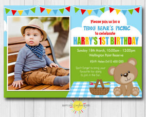 Image Is Loading Printable Boy Birthday Invitation Photo Any Age Teddy